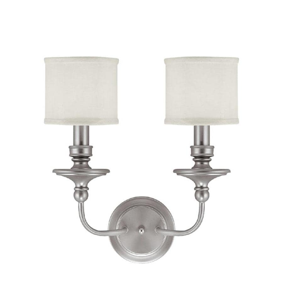Century 15-in W 2-Light Matte Nickel Arm Wall Sconce