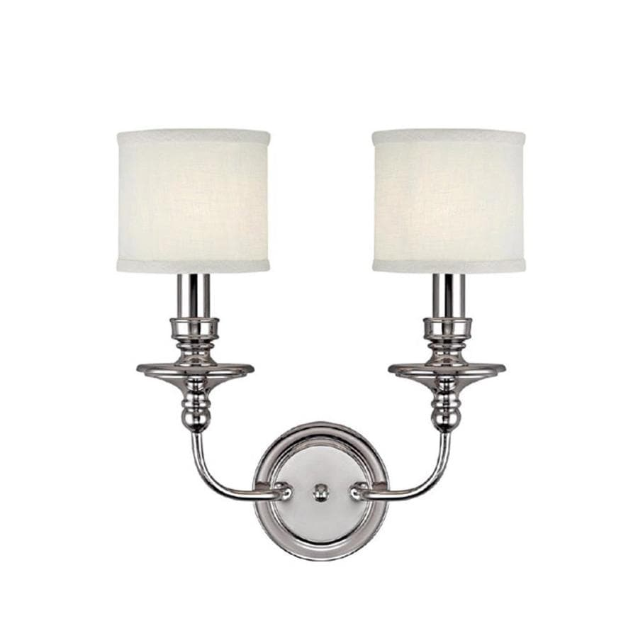 Century 15-in W 2-Light Polished Nickel Arm Hardwired Wall Sconce