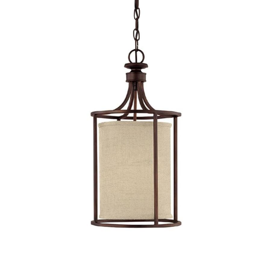 Century 11-in Burnished Bronze Single Tinted Glass Pendant