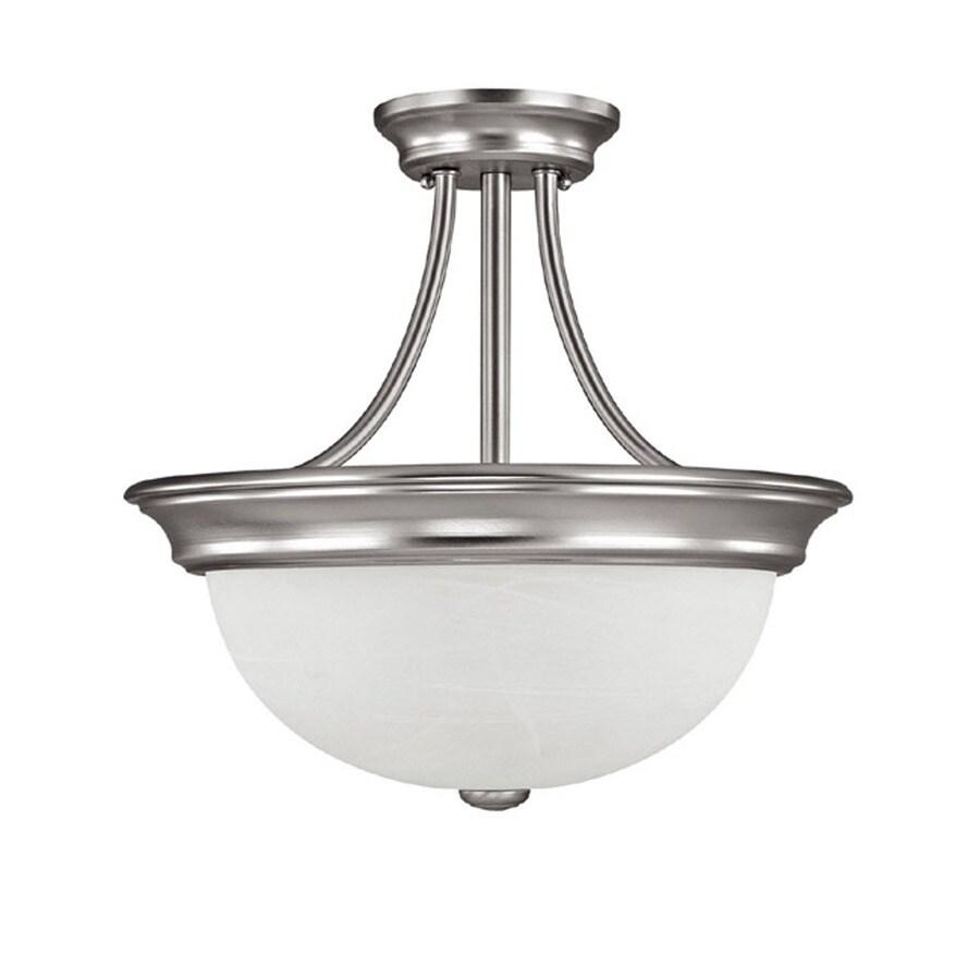 Century 15-in W Matte Nickel Clear Glass Semi-Flush Mount Light
