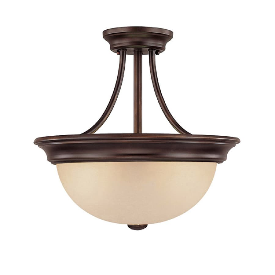 Century 15-in W Burnished Bronze Textured Semi-Flush Mount Light