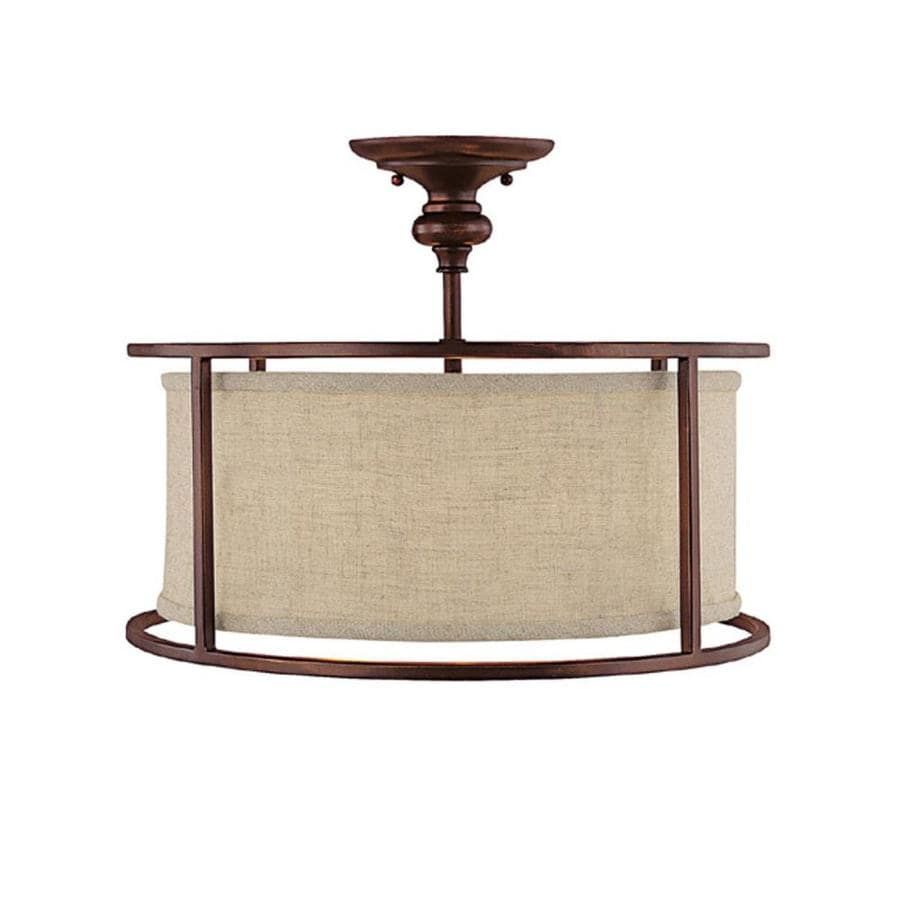 Century 17-in W Burnished Bronze Frosted Glass Semi-Flush Mount Light