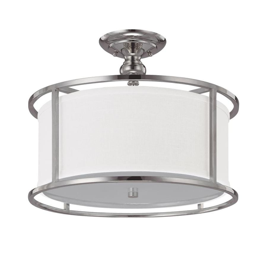 Century 17-in W Polished Nickel Frosted Glass Semi-Flush Mount Light