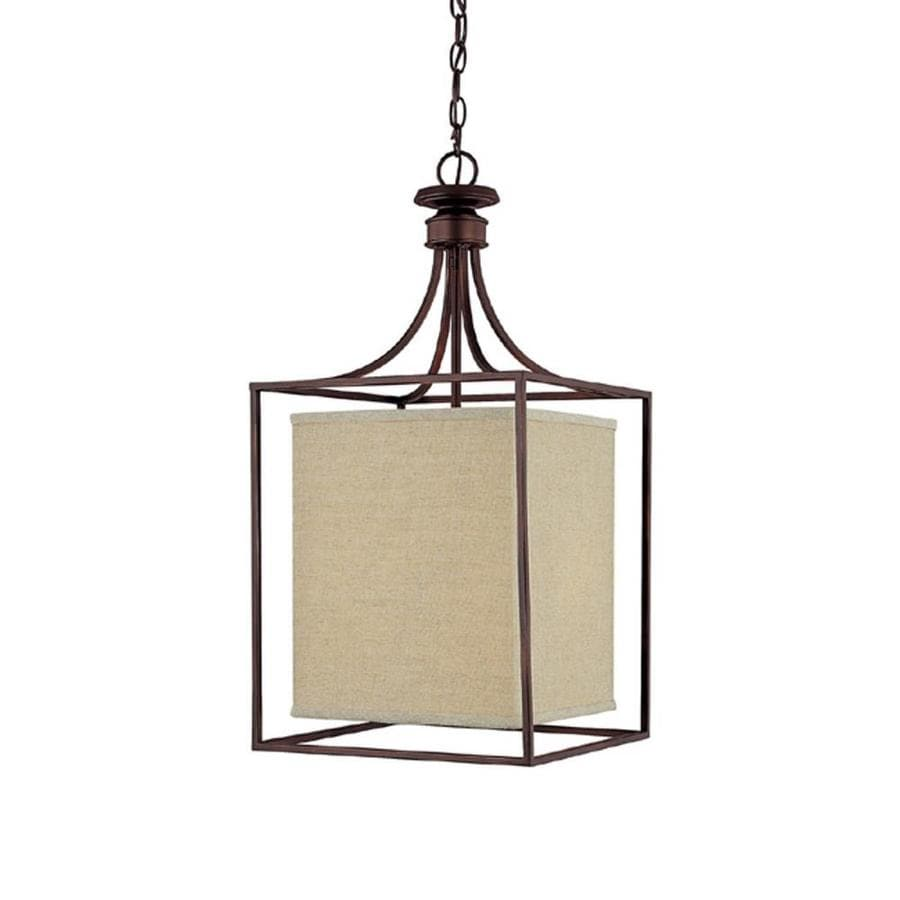 Century 14-in Burnished Bronze Single Tinted Glass Pendant