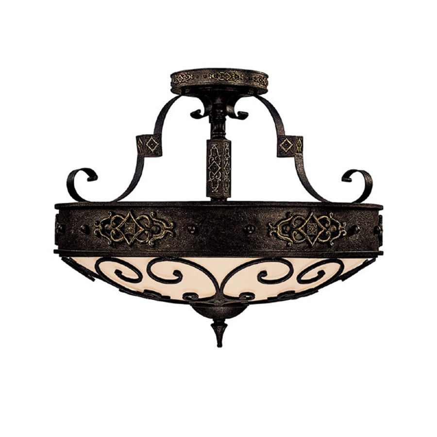 Century 24-in W Rustic Iron Textured Semi-Flush Mount Light