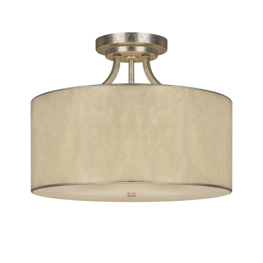 Century 17-in W Winter Gold Fabric Semi-Flush Mount Light
