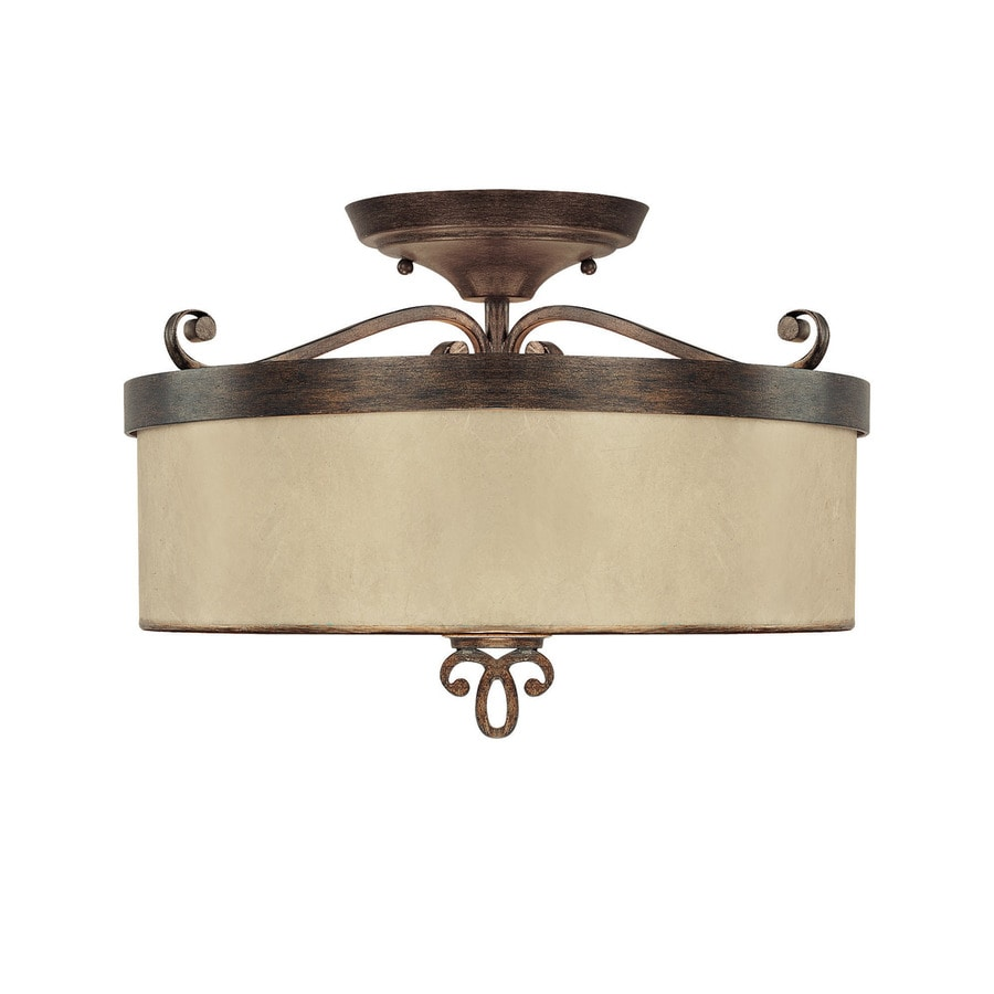 Century 15-in W Rustic Textured Semi-Flush Mount Light