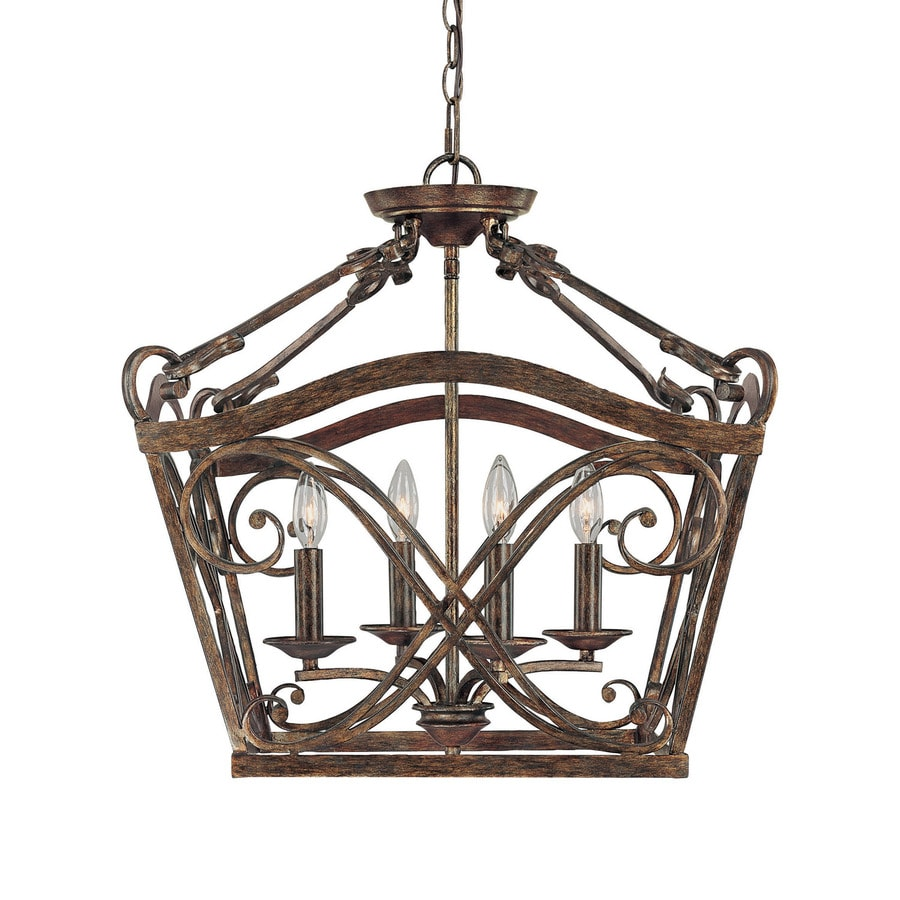 Century 20.5-in Rustic Single Tinted Glass Pendant