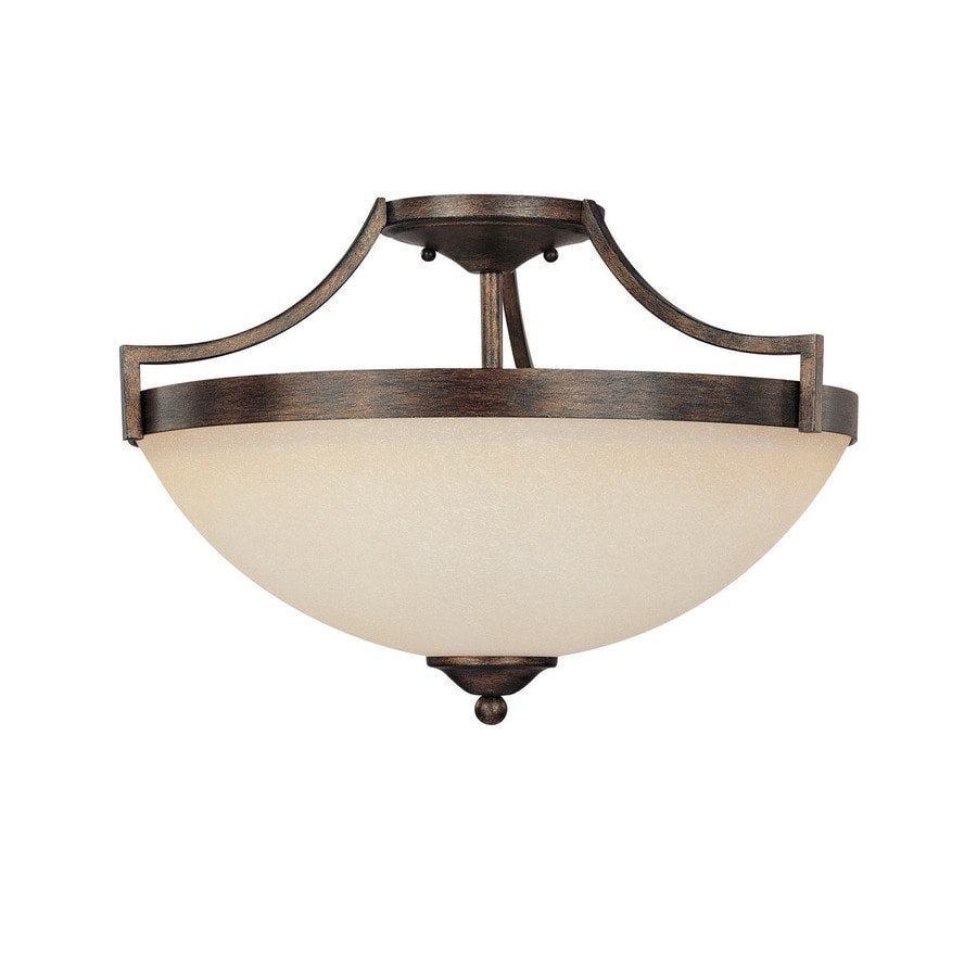 17 in w rustic frosted glass semi flush mount light at