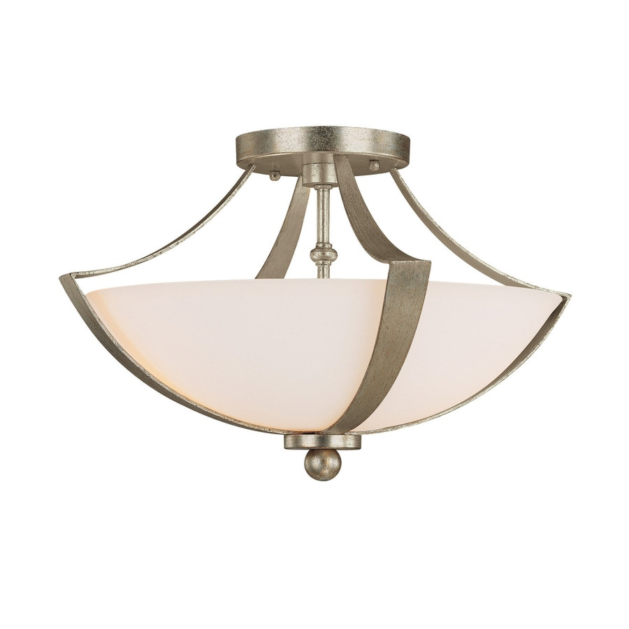 Century 15.5-in W Winter Gold Frosted Glass Semi-Flush Mount Light