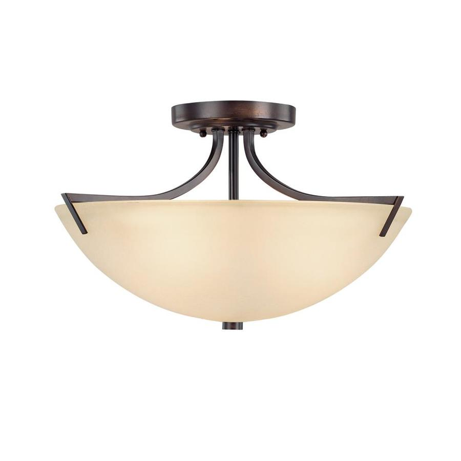 Century 17-in W Burnished Bronze Textured Semi-Flush Mount Light