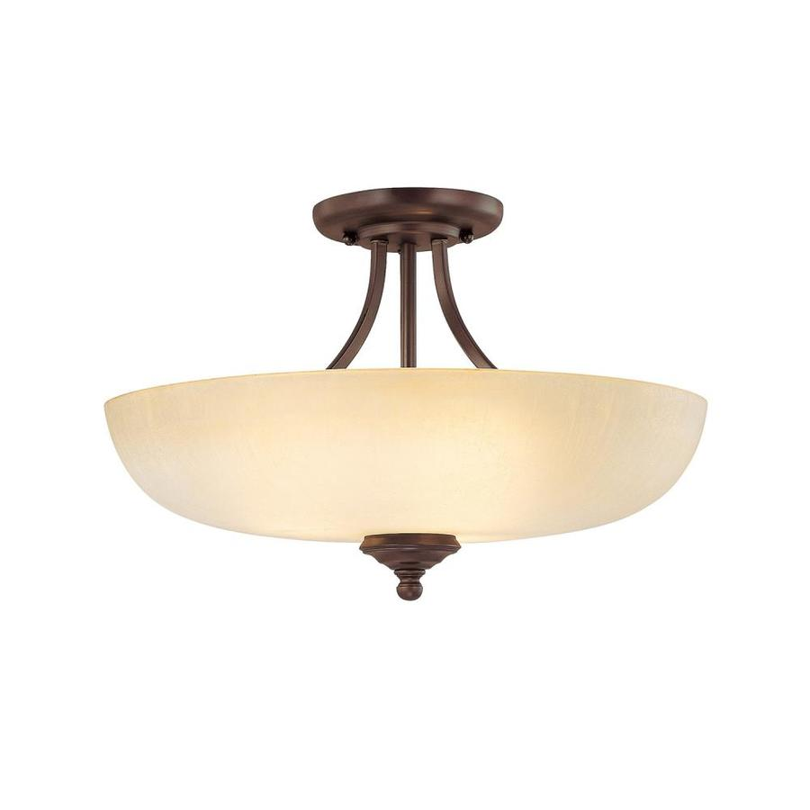 Century 17.5-in W Burnished Bronze Tea-Stained Glass Semi-Flush Mount Light