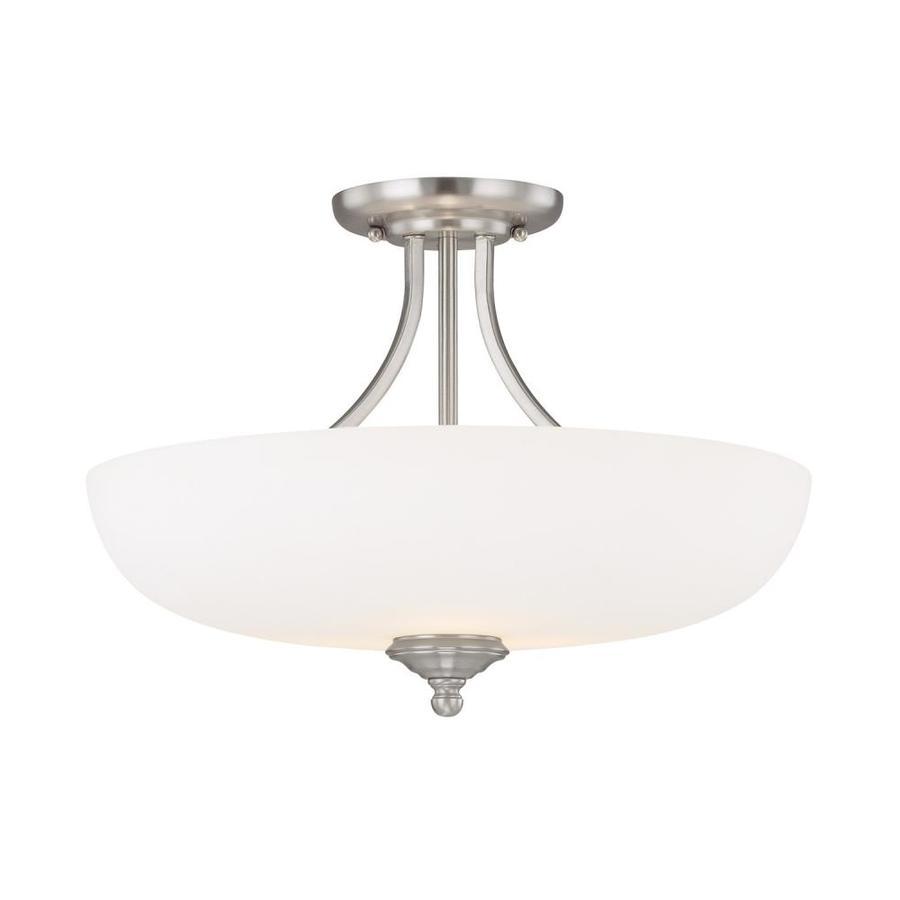 Century 17.5-in W Matte Nickel Frosted Glass Semi-Flush Mount Light