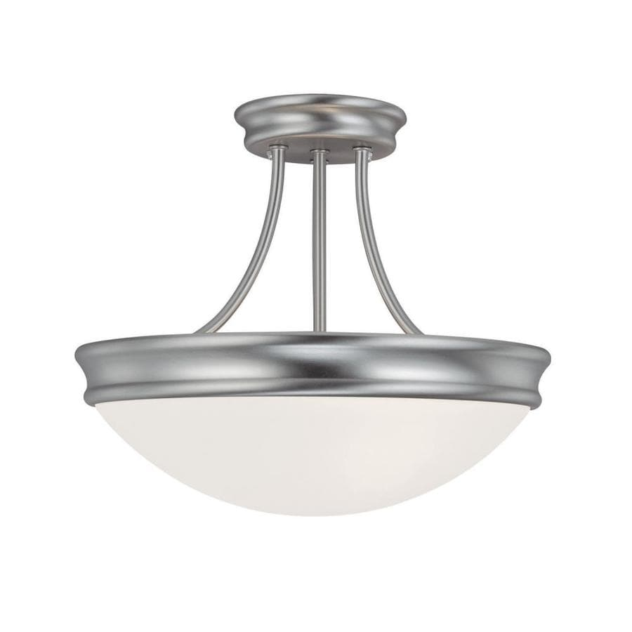 Century 14-in W Matte Nickel Frosted Glass Semi-Flush Mount Light