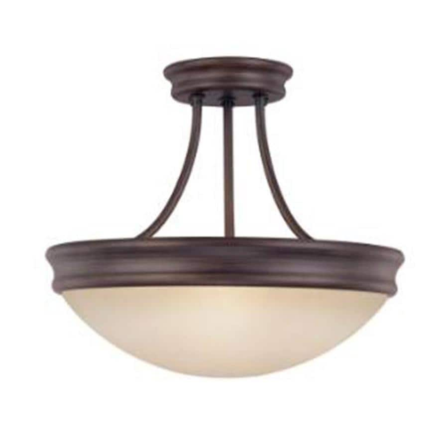 Century 14-in W Oil Rubbed Bronze Tea-Stained Glass Semi-Flush Mount Light