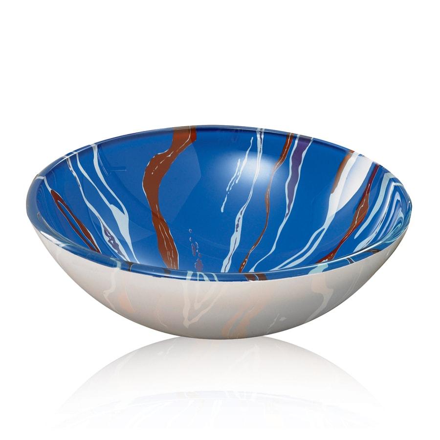 DECOLAV Translucence Swirl Glass Vessel Round Bathroom Sink