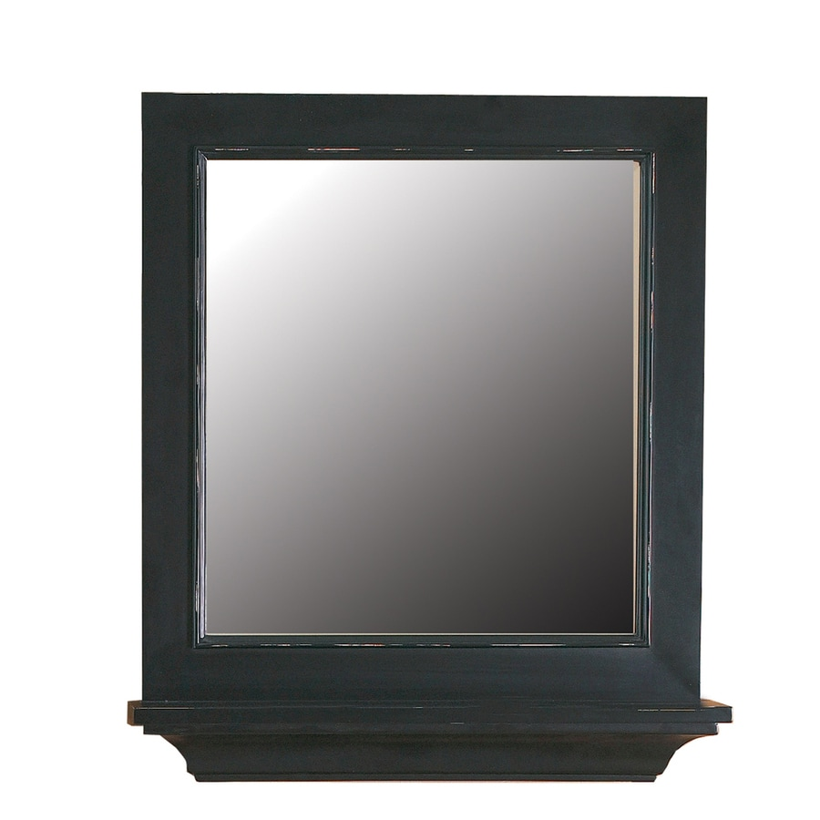 DECOLAV Bathroom Furniture 26-in W x 30-in H Distressed Espresso Round Bathroom Mirror