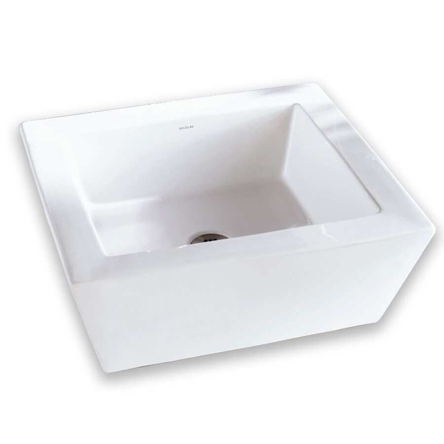 DECOLAV Classically Redefined White Vessel Rectangular Bathroom Sink with Overflow