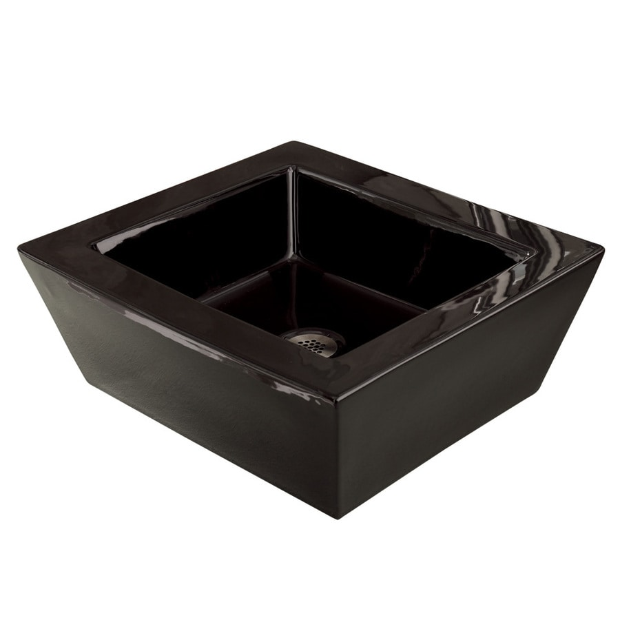DECOLAV Classically Redefined Ceramic Black Vessel Rectangular Bathroom Sink with Overflow