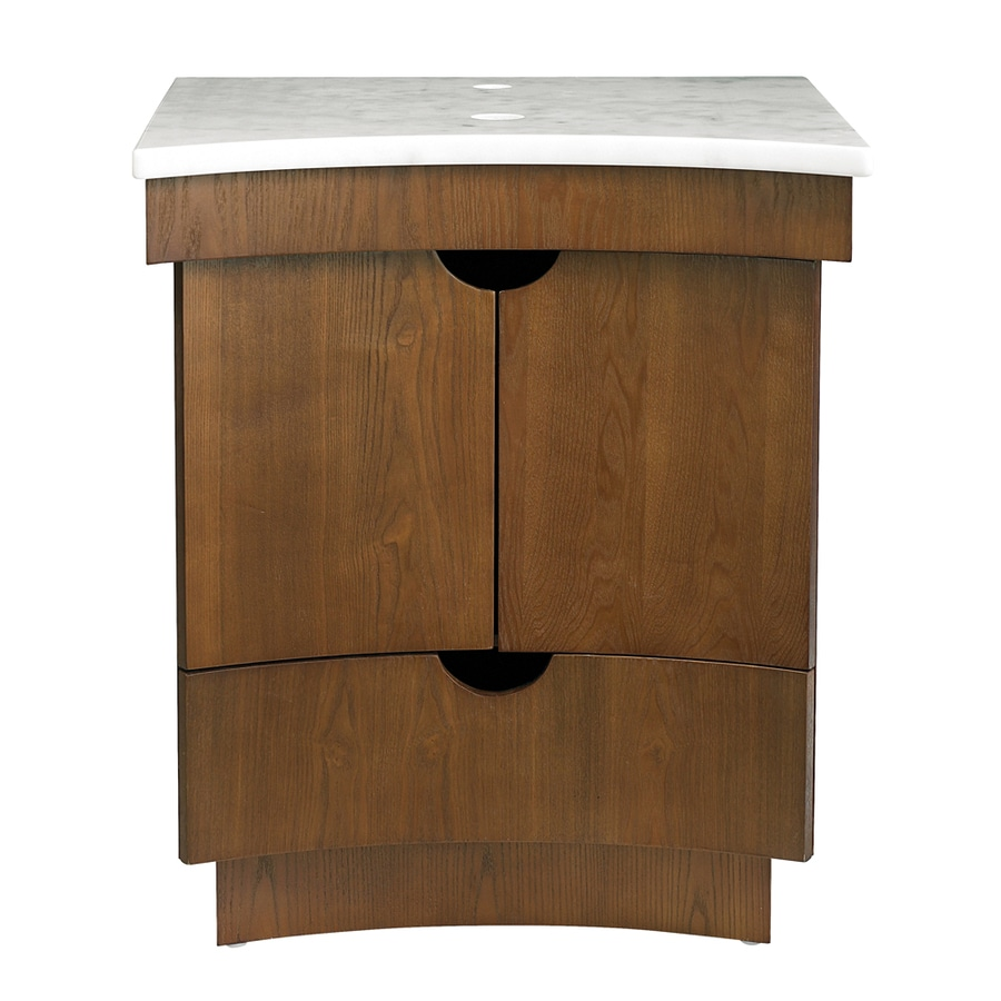 DECOLAV Madryn Cognac (No Sink) Bathroom Vanity with Natural Marble Top (Common: 24-in x 22-in; Actual: 24-in x 22-in)