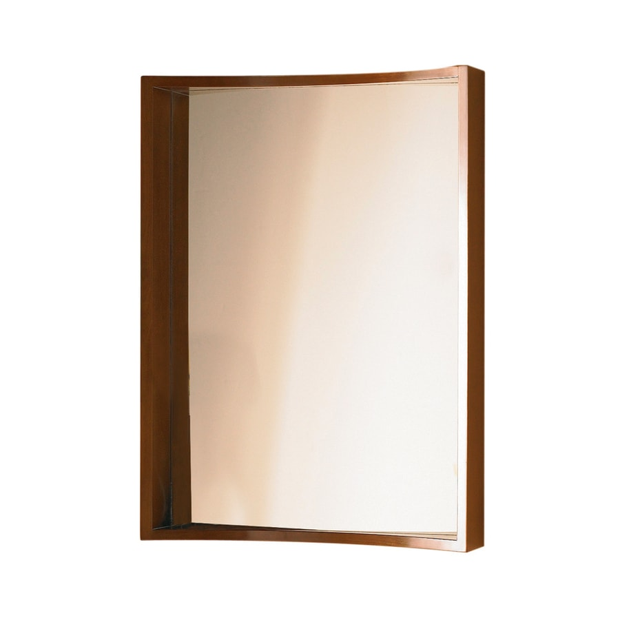 DECOLAV Madryn 22-in W x 31-in H Walnut Rectangular Bathroom Mirror