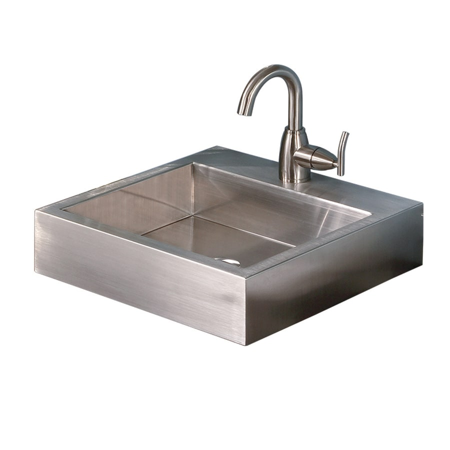 Shop decolav simply stainless brushed stainless steel Stainless steel bathroom vanities