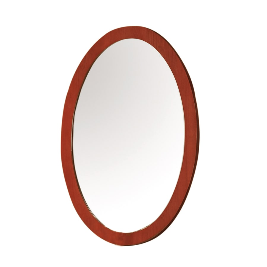 DECOLAV Ancahra 24.13-in W x 35.5-in H Cherry Oval Bathroom Mirror