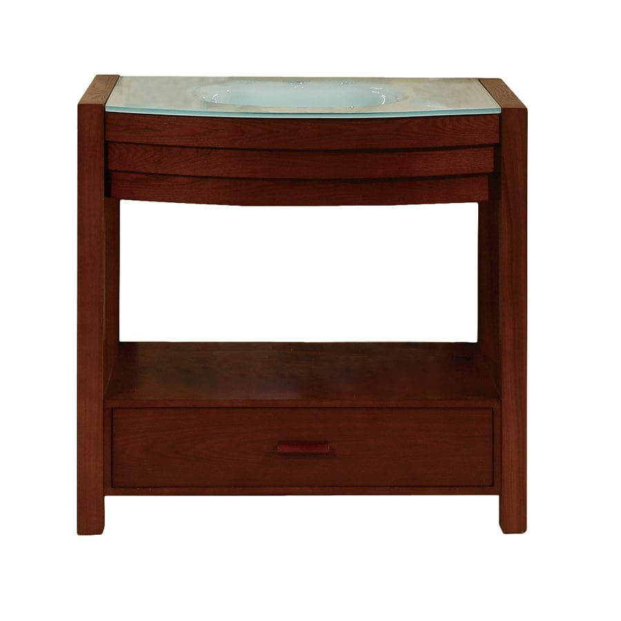 DECOLAV Sag Harbour Walnut (Common: 36-in x 22-in) Undermount Single Sink Bathroom Vanity with Glass Top (Actual: 34-in x 22-in)
