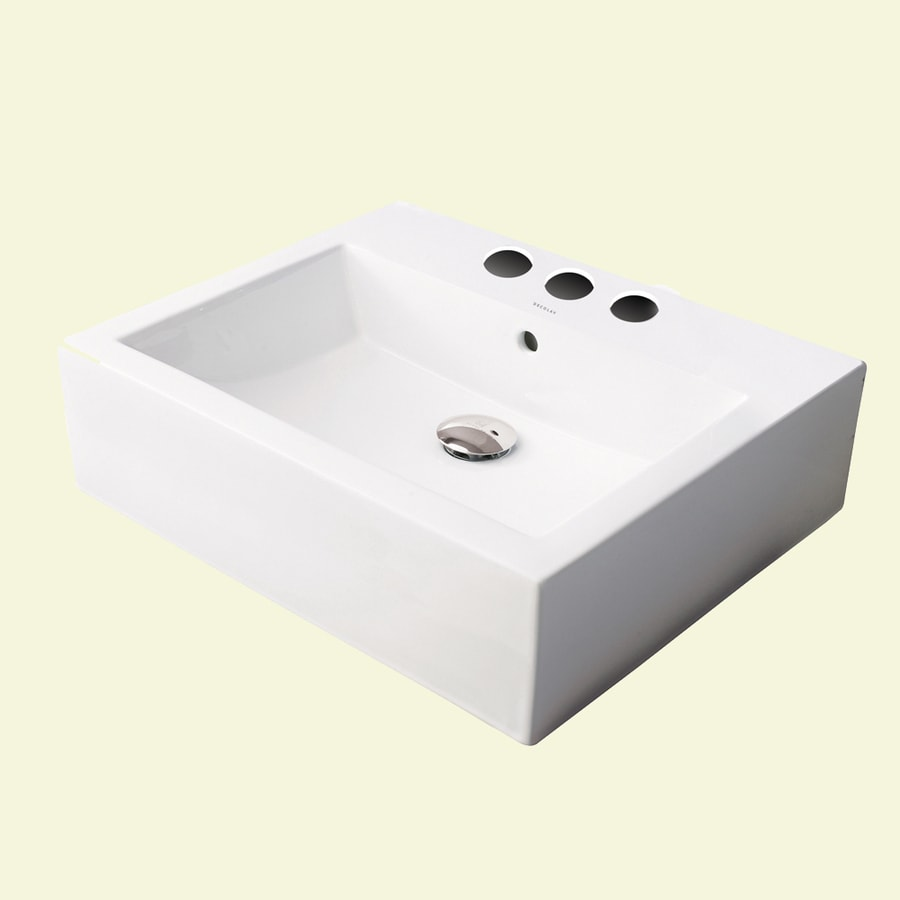 DECOLAV Classically Redefined Ceramic White Vessel Square Bathroom Sink with Overflow