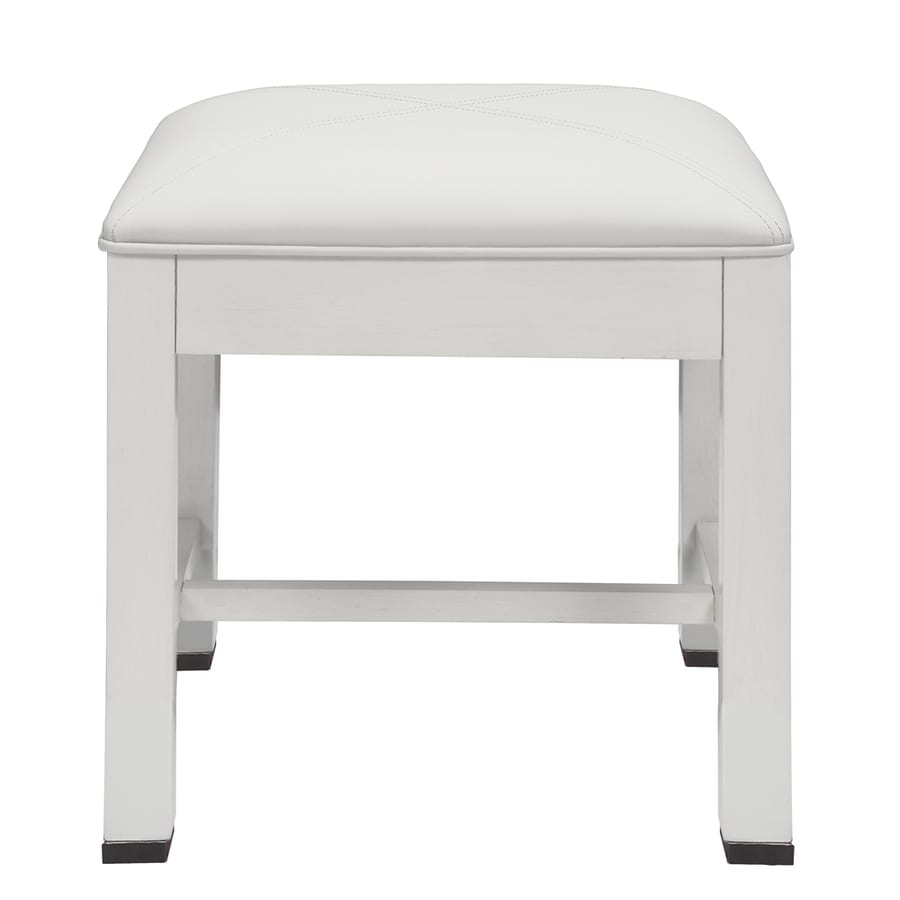 Decolav 18 1 2 In H White Square Makeup Vanity Stool