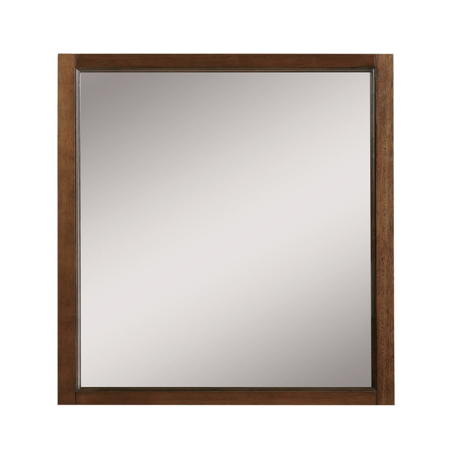 DECOLAV Jordan 30 In W X 32 In H Mahogany Rectangular Bathroom Mirror