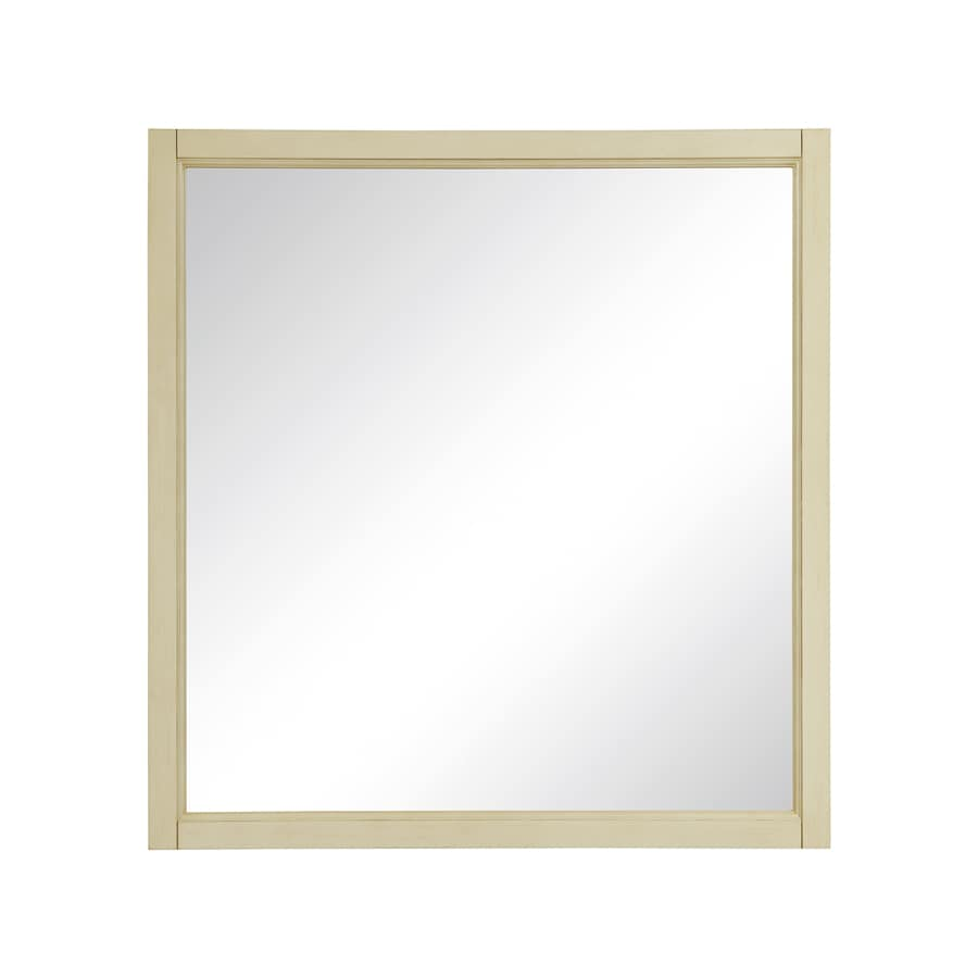 DECOLAV Jordan 30-in W x 32-in H Antique White Rectangular Bathroom Mirror