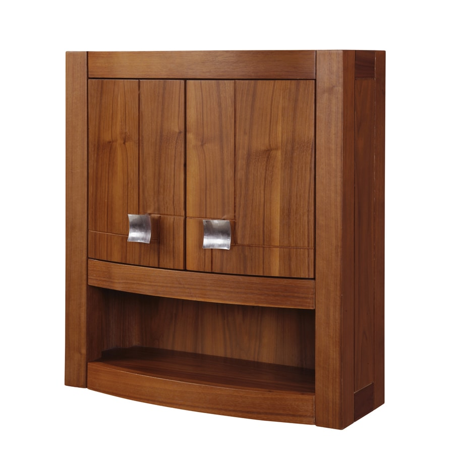 DECOLAV Gavin 23-in W x 26-in H x 9-in D Medium Walnut Bathroom Wall Cabinet
