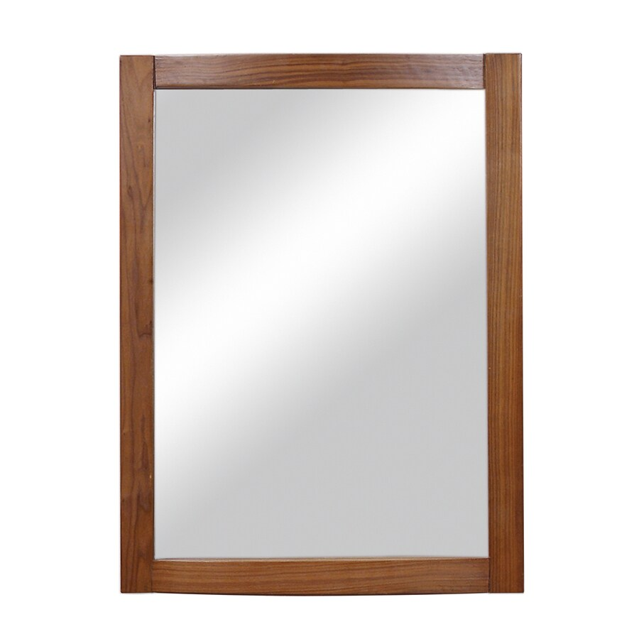 DECOLAV Gavin 24-in W x 32-in H Medium Walnut Rectangular Bathroom Mirror