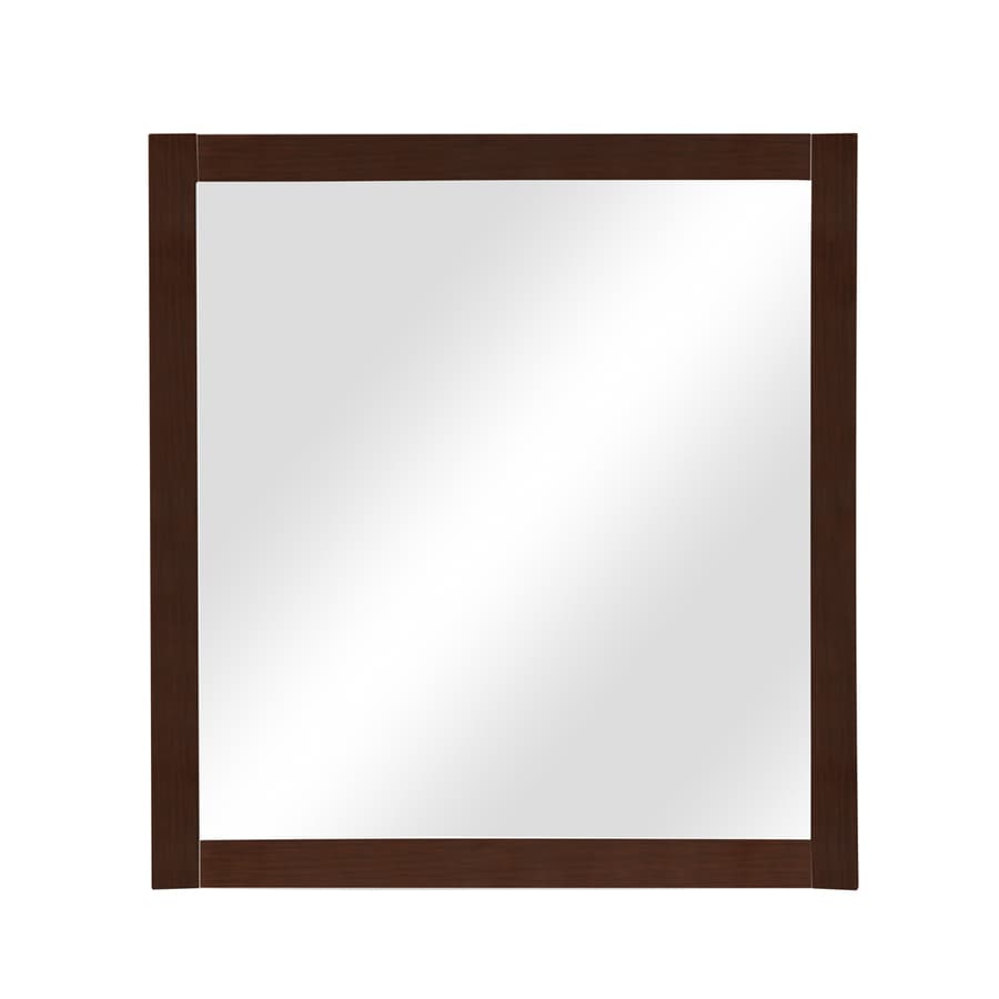 DECOLAV Alexandra 30-in W x 32-in H Mahogany Rectangular Bathroom Mirror