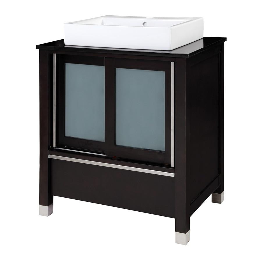 DECOLAV Tyson Espresso (Common: 31-in x 22-in) Vessel Single Sink Birch Bathroom Vanity with Granite Top (Actual: 31-in x 22-in)