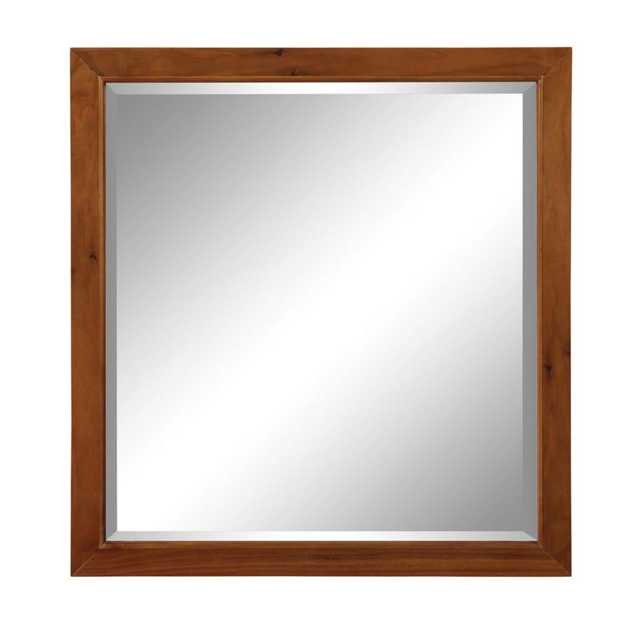 DECOLAV Adrianna 30-in W x 31.88-in H Medium Walnut Rectangular Bathroom Mirror