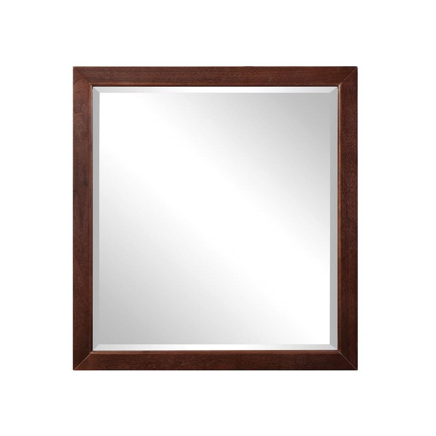 DECOLAV Adrianna 30-in W x 31.88-in H Dark Walnut Rectangular Bathroom Mirror