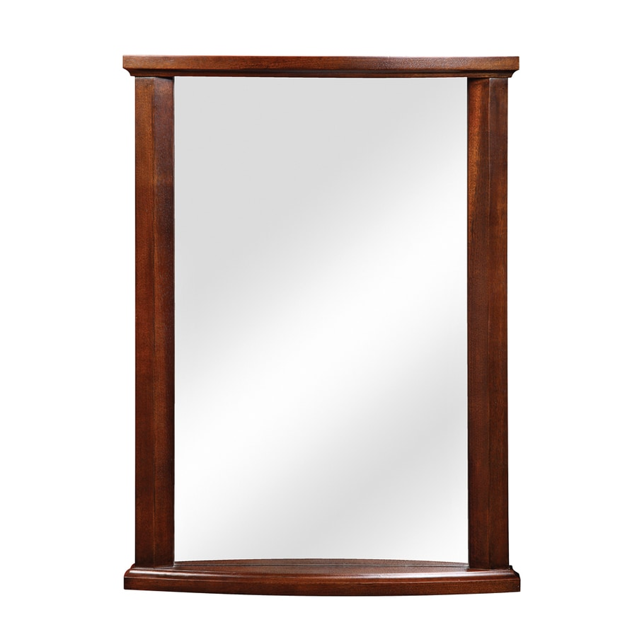 mahogany bathroom mirror shop decolav 24 in w x 32 in h mahogany rectangular 13569