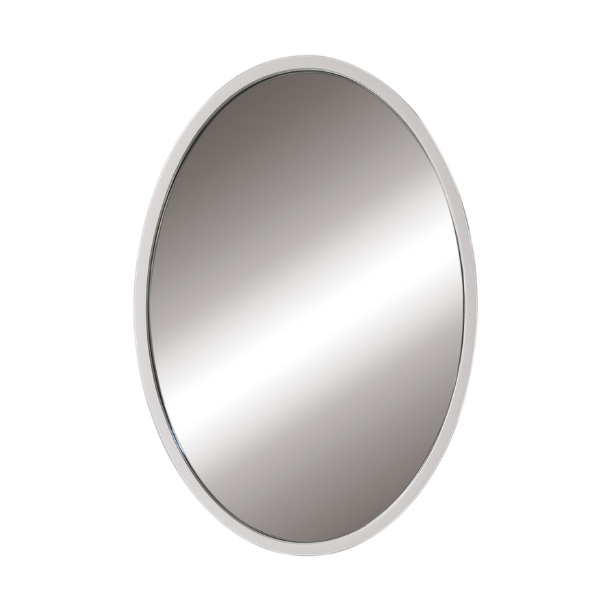DECOLAV Lola 24-in W x 32-in H White Oval Bathroom Mirror