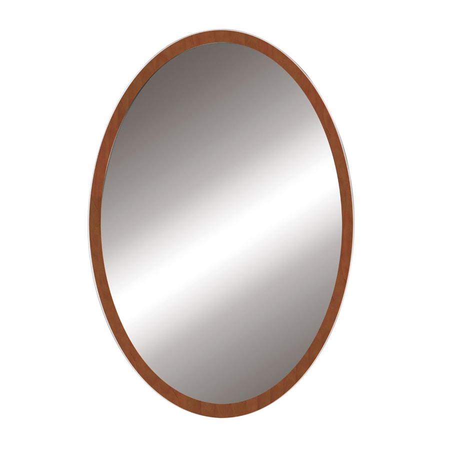 DECOLAV Lola 24-in W x 32-in H Medium Walnut Round Bathroom Mirror