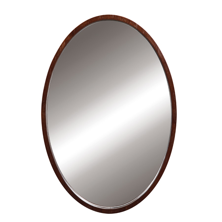 DECOLAV Lola 24-in W x 32-in H Dark Walnut Round Bathroom Mirror