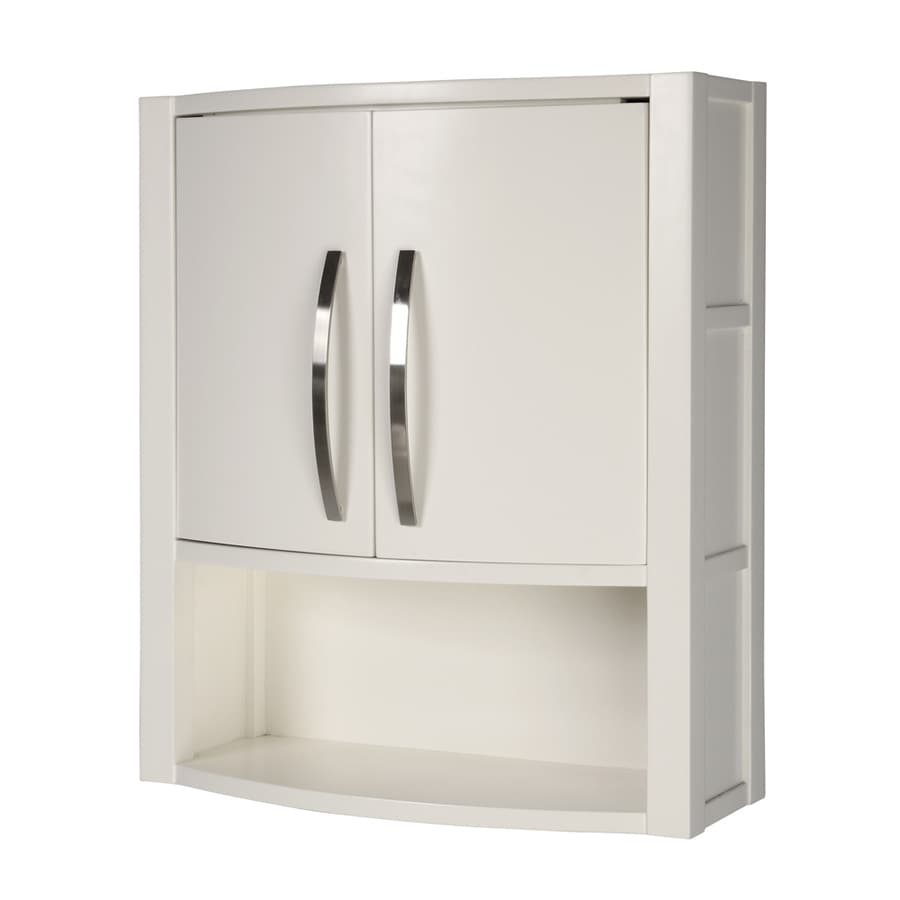 22 in w x 26 in h x 9 in d white bathroom wall cabinet at