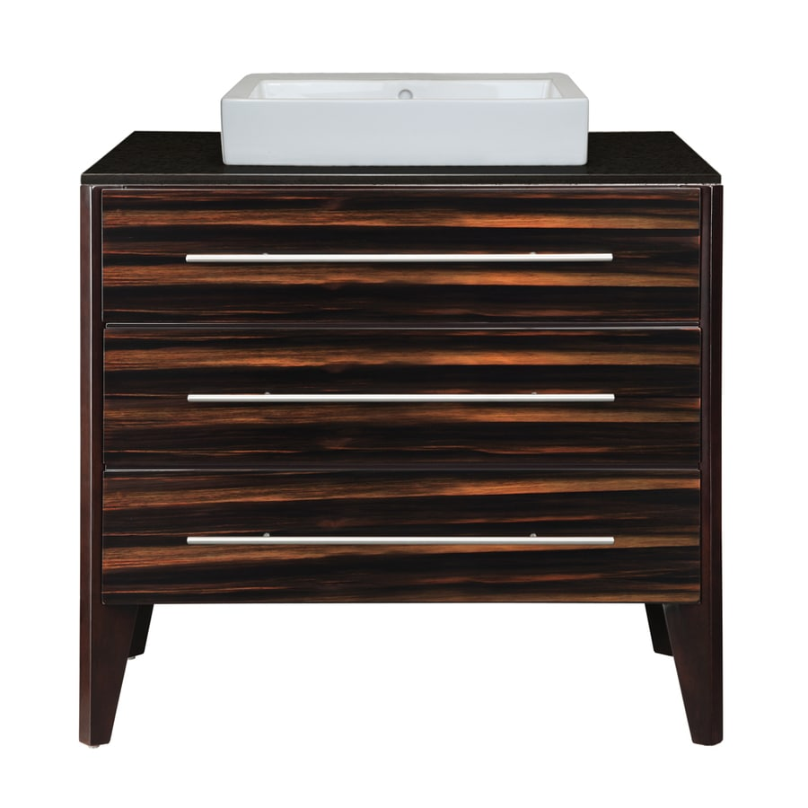 DECOLAV Mila Ebony Espresso 37-in Vessel Single Sink Birch Bathroom Vanity with Granite Top