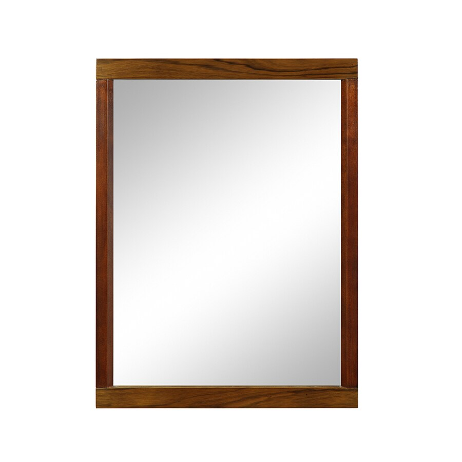 DECOLAV Mila 24-in W x 32-in H Black Limba and Mahogany Rectangular Bathroom Mirror
