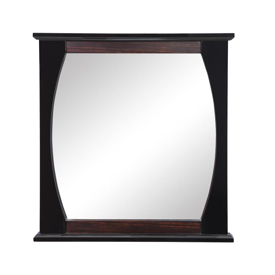 DECOLAV Natasha 30-in W x 32-in H Ebony Black Gloss Rectangular Bathroom Mirror