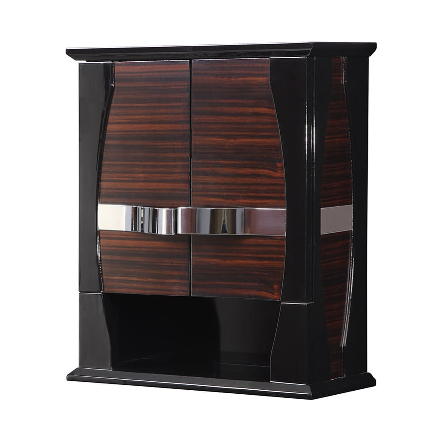 DECOLAV Natasha 22-in W x 26-in H x 9-in D Ebony Piano Black Gloss Bathroom Wall Cabinet