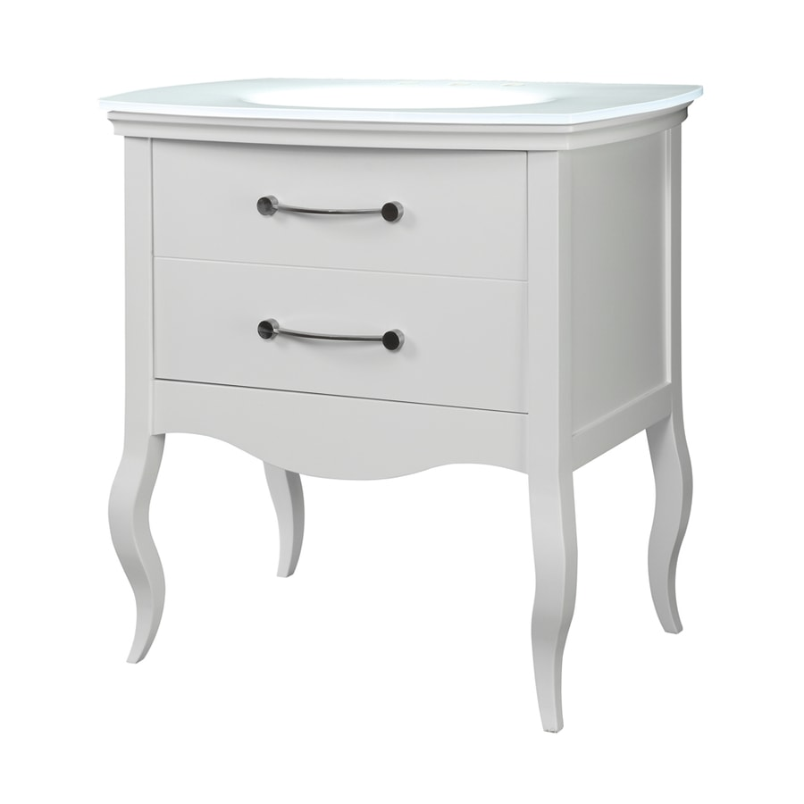 DECOLAV Gabrielle White 37-in Integral Single Sink Birch Bathroom Vanity with Glass Top