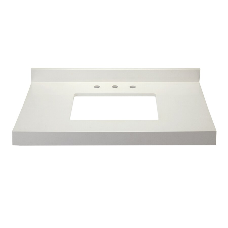DECOLAV Cameron Modular White Quartz Bathroom Vanity Top (Common: 37-in x 22-in; Actual: 38-in x 22-in)
