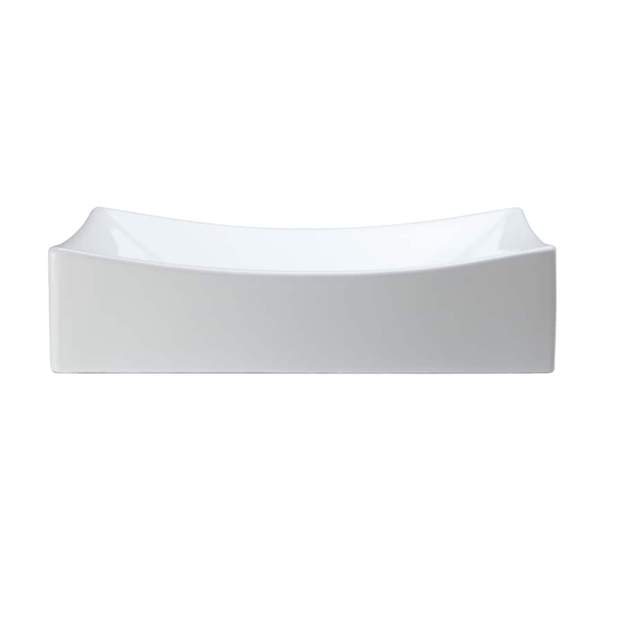 DECOLAV Classically Redefined White Vessel Rectangular Bathroom Sink
